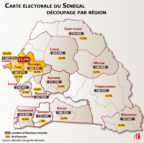 Carte lectorale du Sngal - Dcoupage par rgion