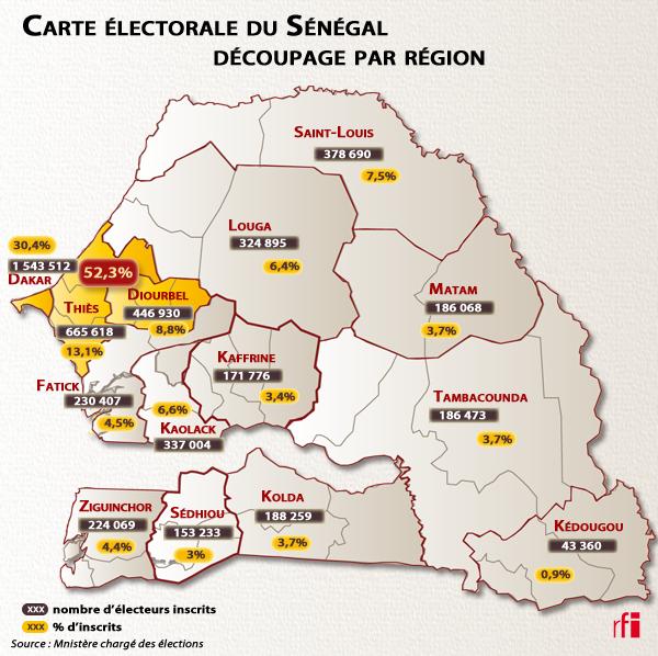 Carte électorale du Sénégal - Découpage par région