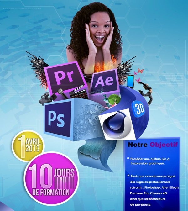 Affiche Centre de formation sur Cinema 4D, Photoshop, After Effects, Premie