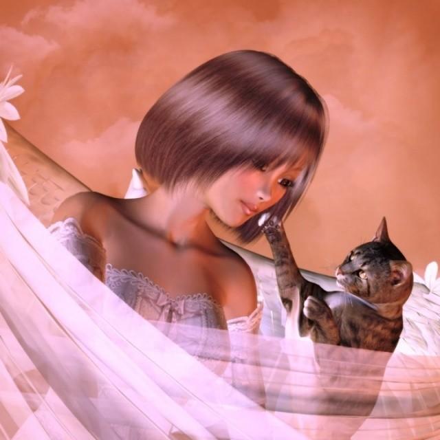 petite et son chat